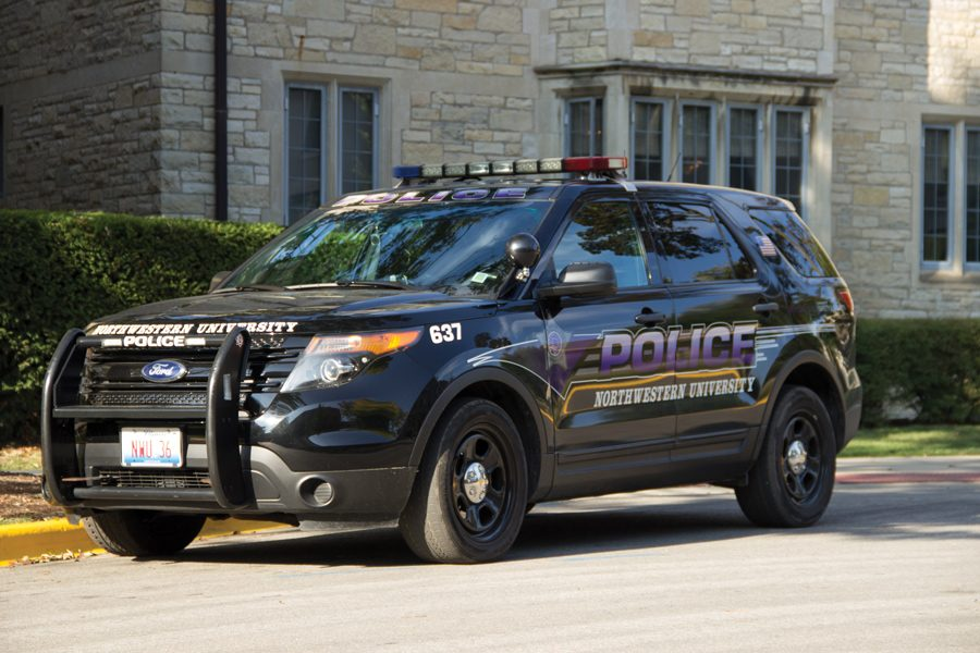 A University Police car. Administrators said Northwestern is establishing a committee to standardize its emergency evacuation plan.
