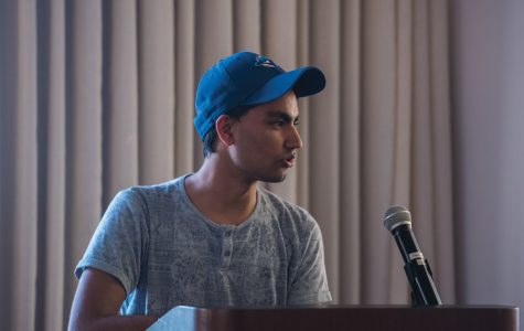 Nyle Arora speaks at Associated Student Government Senate. The Weinberg freshman was confirmed Wednesday as the new treasurer.
