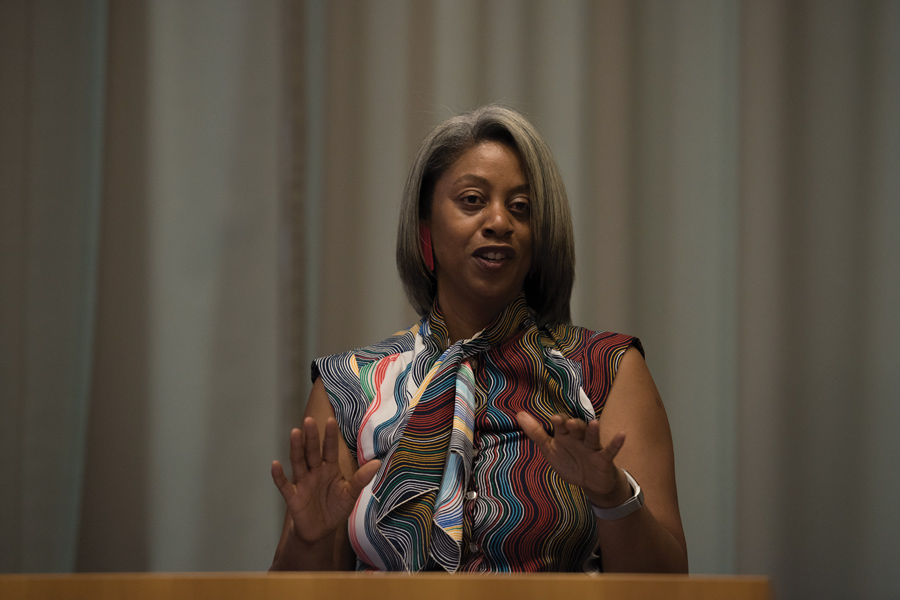 Women's Center director Sekile Nzinga-Johnson speaks Tuesday to students and community members at the Segal Visitors Center. The event was the keynote speech of Student Enrichment Services' Money Matters Week, hosted in collaboration with Northwestern Quest Scholars.