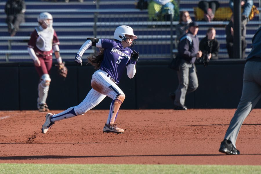 Sabrina Rabin sprints for second base. Rabin finished her Northwestern career second in program history in runs scored.