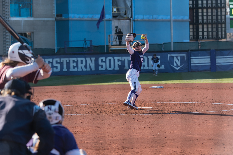 Morgan Newport delivers a pitch. The sophomore pitcher allowed just 2 runs over 7 innings in Northwestern's lone win this weekend.