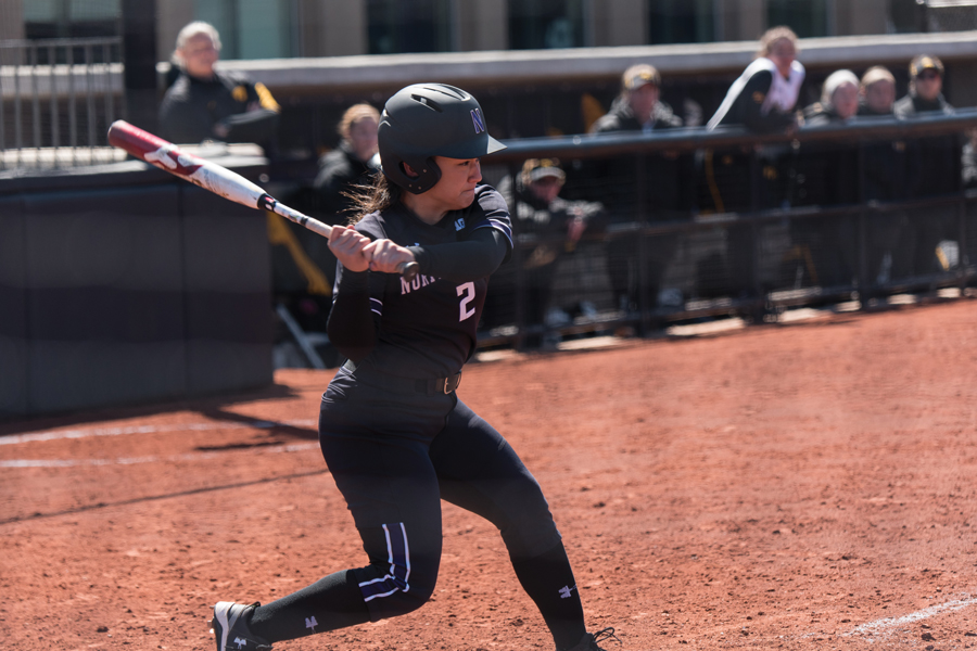 Brooke Marquez takes a swing. The senior right fielder will play in her final Big Ten Tournament this weekend.