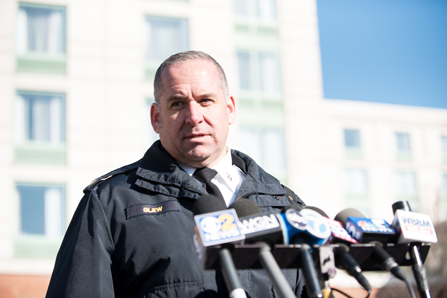 Evanston police Cmdr. Ryan Glew speaks at the media station at the Hilton Garden Inn Chicago North Shore/Evanston parking lot on March 14. The couple that was targeted in the Evanston swatting incident was also linked to a call regarding a fake incident in Chicago the same day.