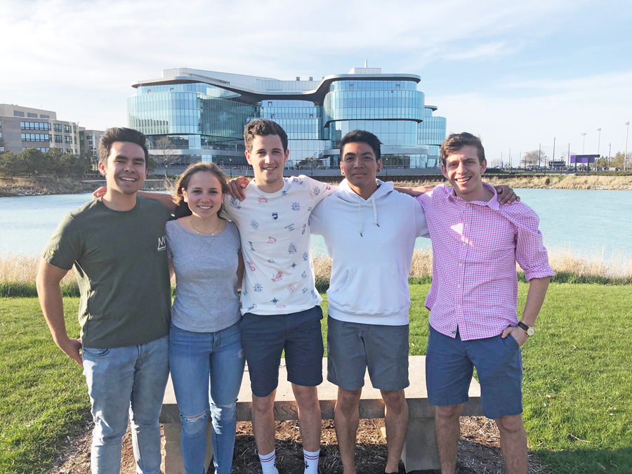 (Left to right) Students Troy Daley, Amelia Russo, Matt Schnadig, Aaron Empedrado and Rob Konoff. The group created The Table, a startup that will offer alternative breakfast and late-night options to dining hall food.