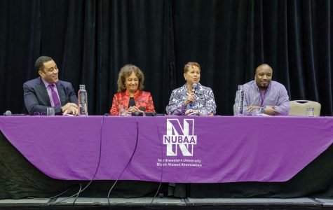 Alumni Harry Lennix, Daphne Maxwell Reid and Joanne Williams join filmmaker Eric Seals (left to right) during a panel after the premiere of a NUBAA-commissioned documentary on the Bursar's Office Takeover. Takeover participants Maxwell Reid and Williams reflected on their time at Northwestern and its evolution since 1968.
