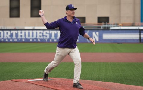 John Trautwein throws out the first pitch. The former Northwestern and professional pitcher presented the Paul Stevens Life Teammates Award to NU senior Connor Lind on May 18.