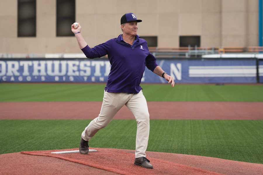 John+Trautwein+throws+out+the+first+pitch.+The+former+Northwestern+and+professional+pitcher+presented+the+Paul+Stevens+Life+Teammates+Award+to+NU+senior+Connor+Lind+on+May+18.