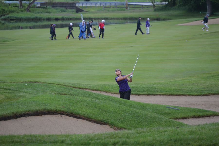 Sarah Cho hits out of a sand trap. Cho will play her final NCAA Regional this weekend in Wisconsin.