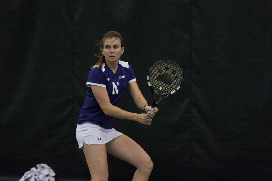 Erin+Larner+strikes+a+backhand.+She+and+the+other+seniors+are+looking+to+lead+the+Wildcats+to+advance+in+the+NCAA+Tournament.