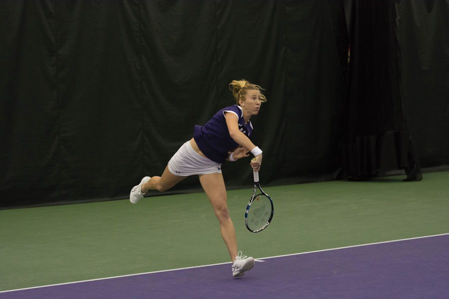 Maddie+Lipp+watches+her+shot.+Lipp+and+fellow+senior+Erin+Larner%E2%80%99s+doubles+match+loss+put+Northwestern+down+early+to+Duke.