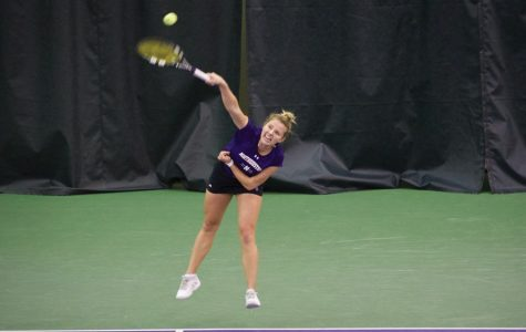 Alex Chatt hits a serve. Chatt and the Wildcats rolled through the NCAA Regional with two 4-0 wins this weekend.