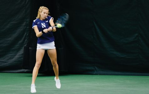 Maddie Lipp hits a forehand. Lipp and the Wildcats will face Buffalo in the first round of the NCAA Tournament.