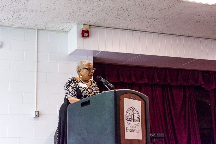 African American studies librarian Kathleen Bethel speaks at the Fleetwood Jourdain Community Center. The luncheon honored NU alumni and Evanston communities that supported black students during the Bursar's Office Takeover in 1968.