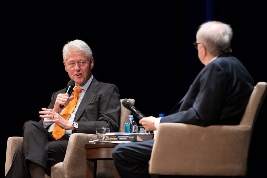 "Former president Bill Clinton speaks at the Auditorium Theatre on Thursday. He is touring the country promoting his new book, ""The President Is Missing,"" which he co-wrote with James Patterson."