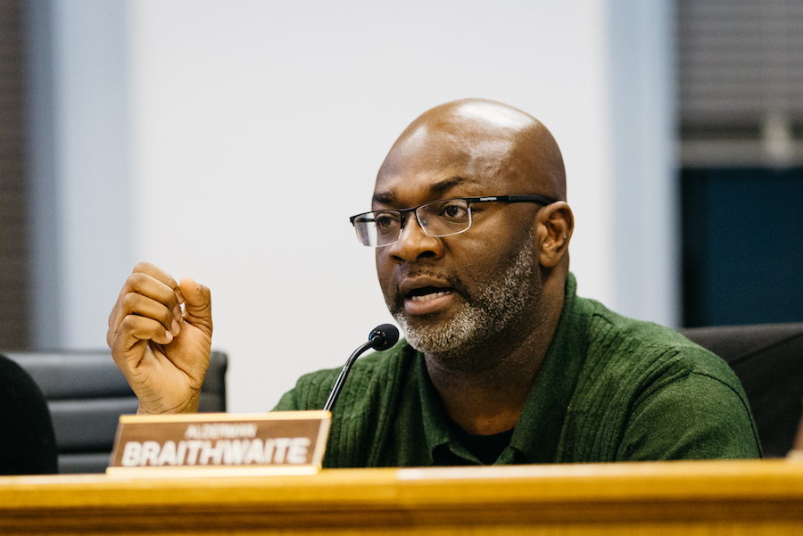 Ald. Peter Braithwaite (2nd) speaks at a City Council meeting in April. Braithwaite introduced a motion at Monday's meeting to remove youth and young adult programs from a list of potential city services to be reduced or cut in the priority-based budgeting process.