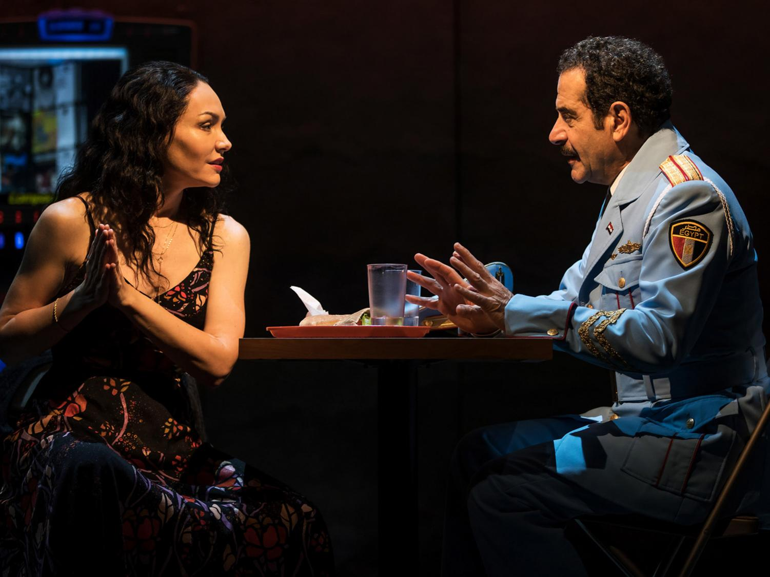 "Katrina Lenk (left) and Tony Shalhoub in ""The Band's Visit"" at the Ethel Barrymore Theatre on Broadway. Lenk took home her first Tony award on Sunday for best leading actress in a musical."