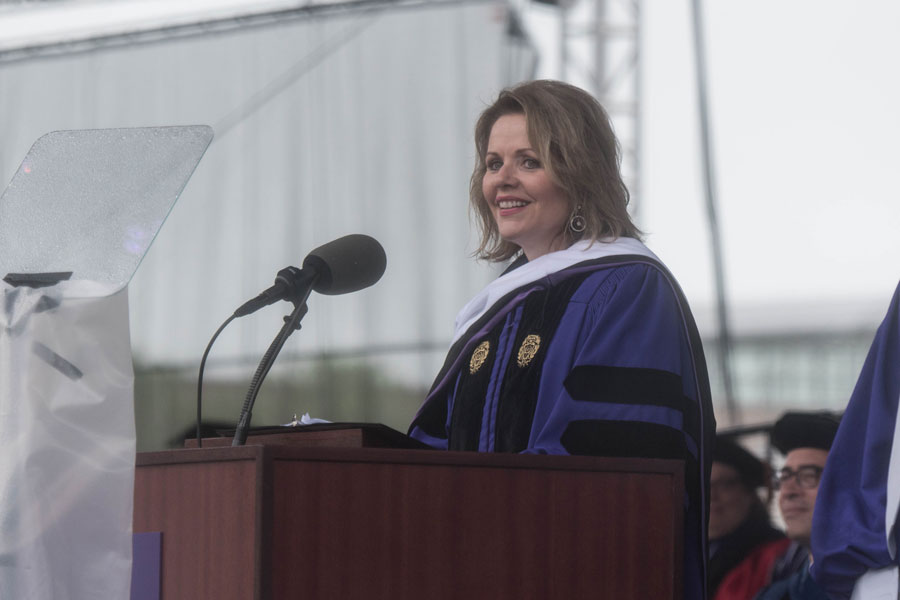 Opera singer Renée Fleming addresses graduates and their families at the 2018 commencement ceremony. Fleming urged students to develop and use their voices.