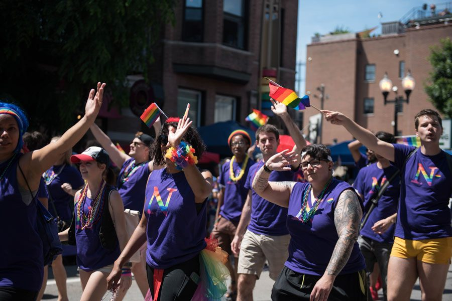 A+Northwestern+group+marches+in+the+2018+Chicago+Pride+Parade.+This+was+the+first+year+NU+was+part+of+the+annual+parade%2C+which+runs+through+the+Boystown+neighborhood+in+Chicago.