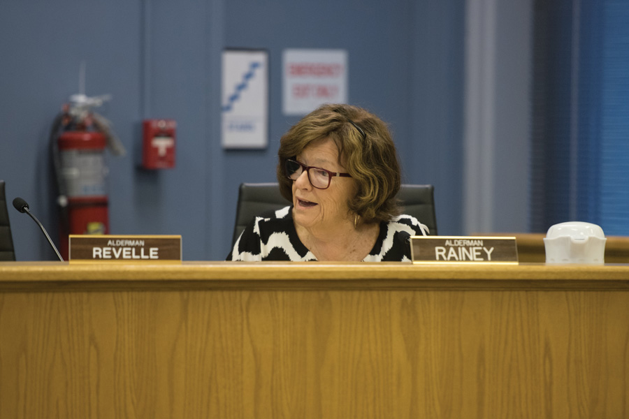 Ald. Ann Rainey (8th) speaks at a City Council meeting. Rainey suggested the city only accept lease proposals for the 2222 Oakton St. property after the anticipated termination of the Smylie Brothers lease.
