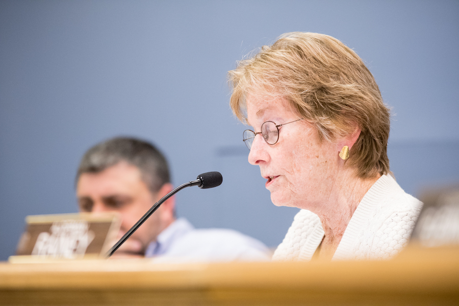 Ald. Eleanor Revelle (7th) speaks during a City Council meeting. Revelle voted against a resolution to begin negotiations with the Evanston Lighthouse Dunes group for the demolition of Harley Clarke Mansion.
