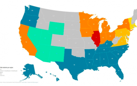 A 2014 map of Northwestern students per state. The state with the highest percentage of NU graduates is Illinois.