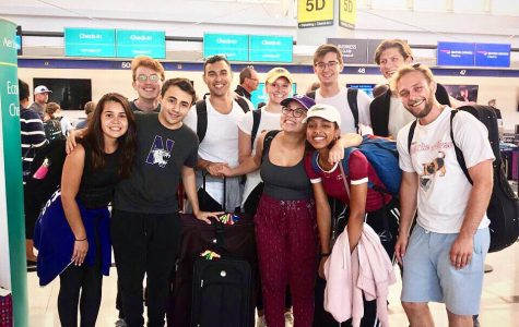 Members of AMTP gather in the airport before traveling to Edinburgh. This group of Northwestern students will perform in two musicals at the Edinburgh Festival Fringe through the month of August.