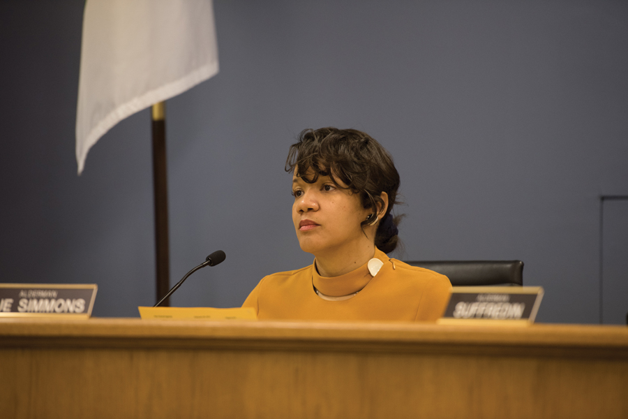 Ald. Robin Rue Simmons (5th) listens during a City Council meeting. Simmons recommended city staff include being an Evanston resident as a requirement for short-term vacation rental licenses.