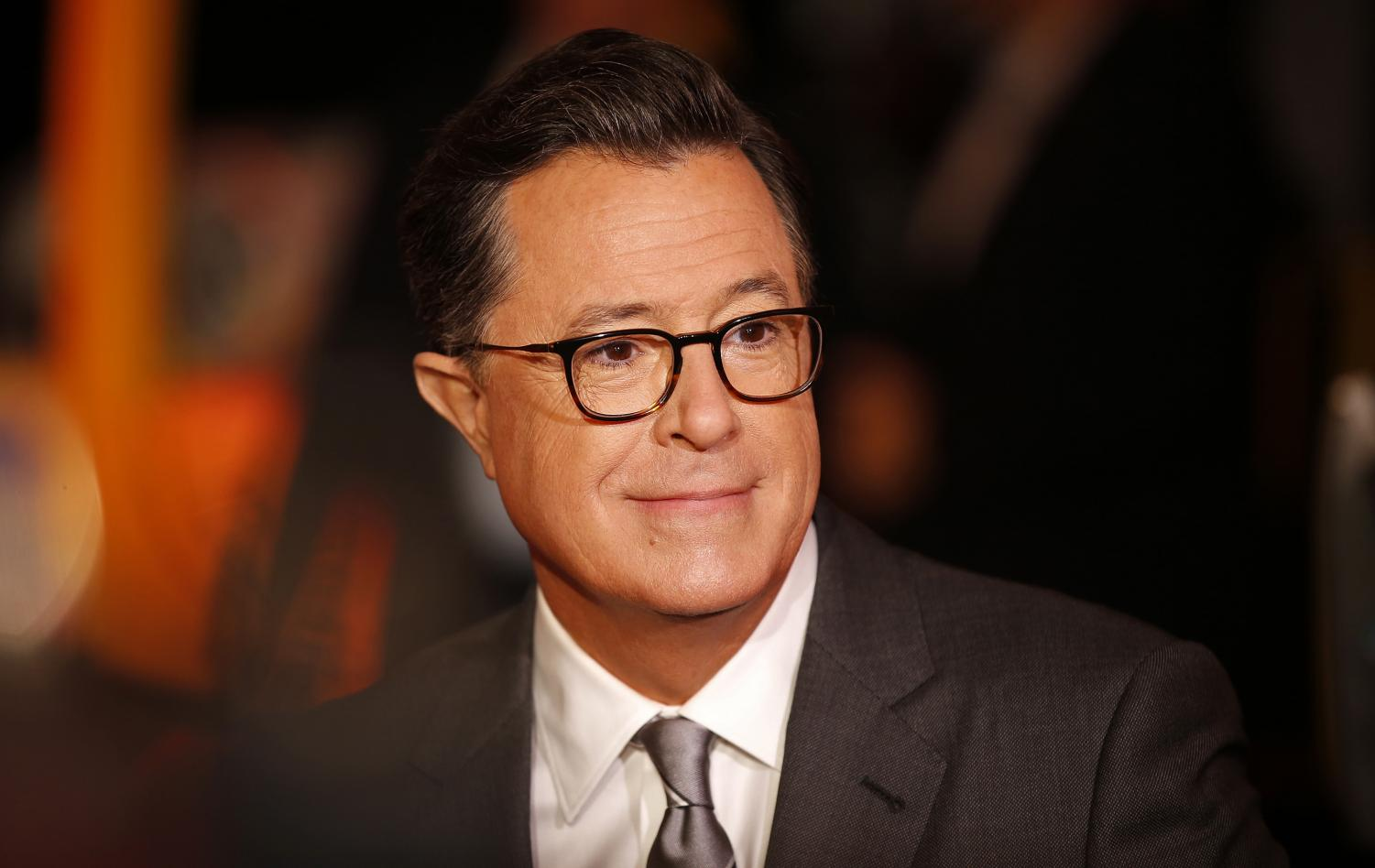 Stephen Colbert (Communication '86) at the Emmy Awards in 2017. Colbert was among eight Northwestern alumni who received Emmy nominations this year.