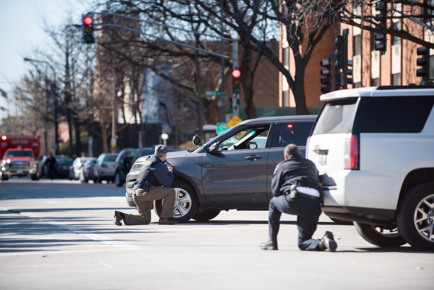 Officers respond to the scene outside Engelhart Hall at Emerson Street and Maple Avenue in March. EPD recently concluded the investigation into the swatting incident, EPD Cmdr. Ryan Glew said Tuesday.