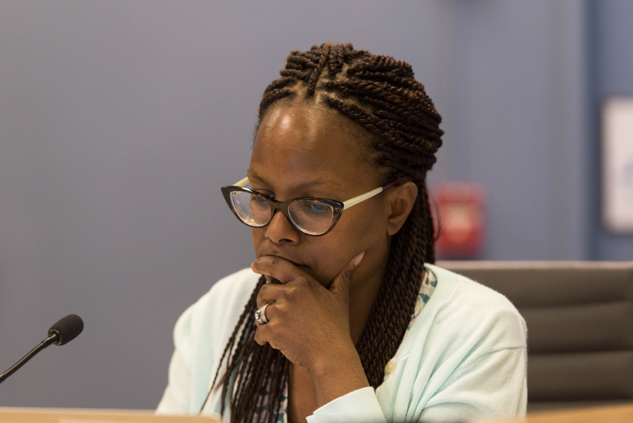 Ald. Cicely Fleming looks on during a Human Services Committee meeting. Fleming advocated for removing the city's arrest records from the city website on a rolling 14-day period at Monday's City Council meeting.