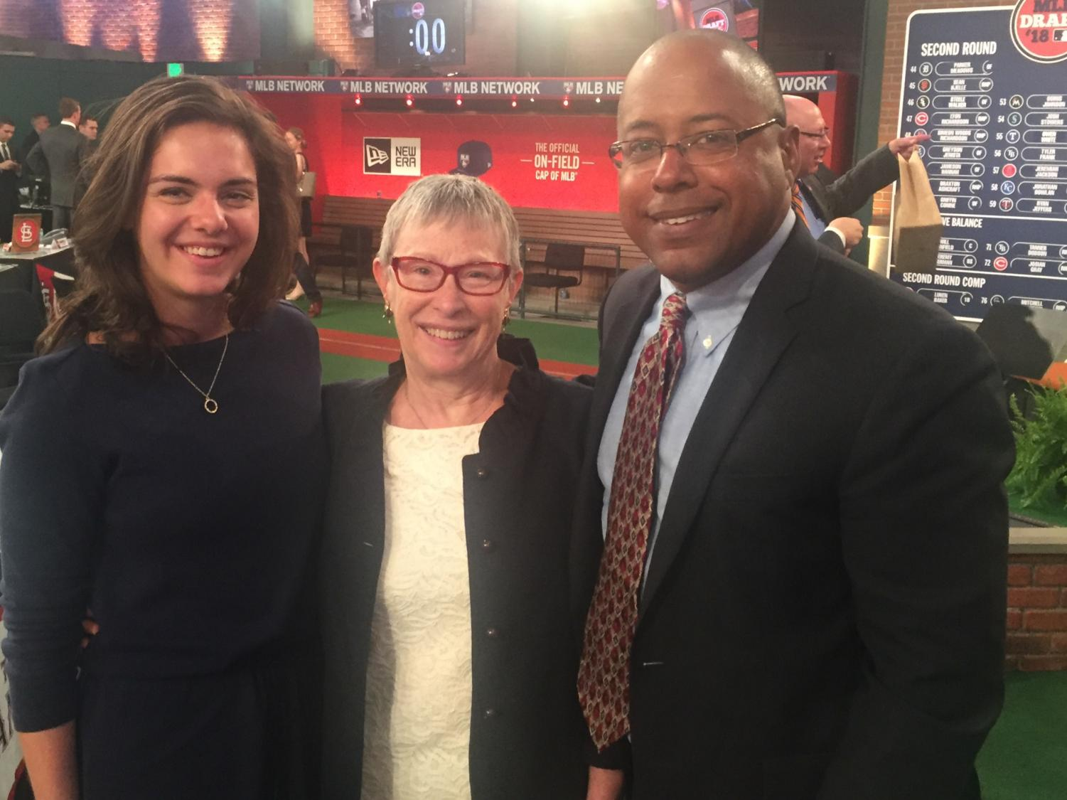 Katie Krall (left) poses for a picture on her first day of work at the 2018 MLB First Year Player Draft. Krall joined the three-year MLB Inaugural Fellowship program this summer.