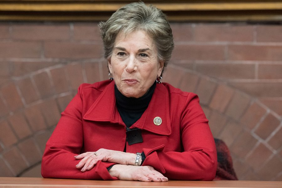 U.S. Rep. Jan Schakowsky (D-Ill.) speaks at an event in January. Schakowsky was one of several Illinois representatives and candidates who spoke at an Evanston town hall Monday.