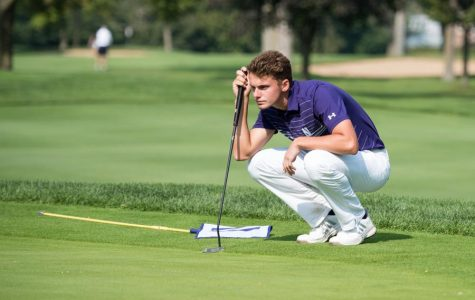 Ryan Lumsden lines up a putt. The senior men's golf player represented his home country of Scotland at the 2018 U.S. Open in Shinnecock Hills.