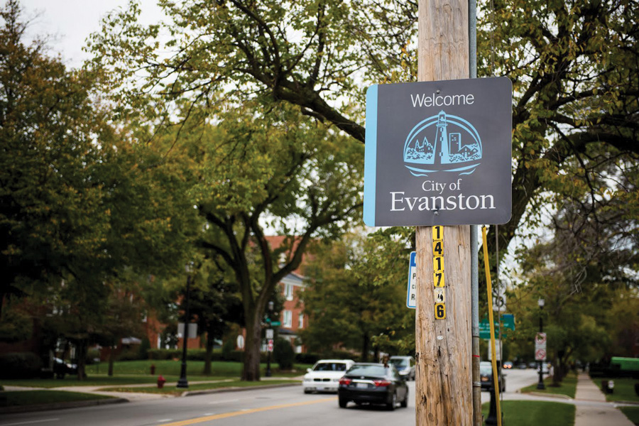 A sign welcomes drivers to Evanston at the southern end of the city. Evanston's bond rating was approved on July 11.
