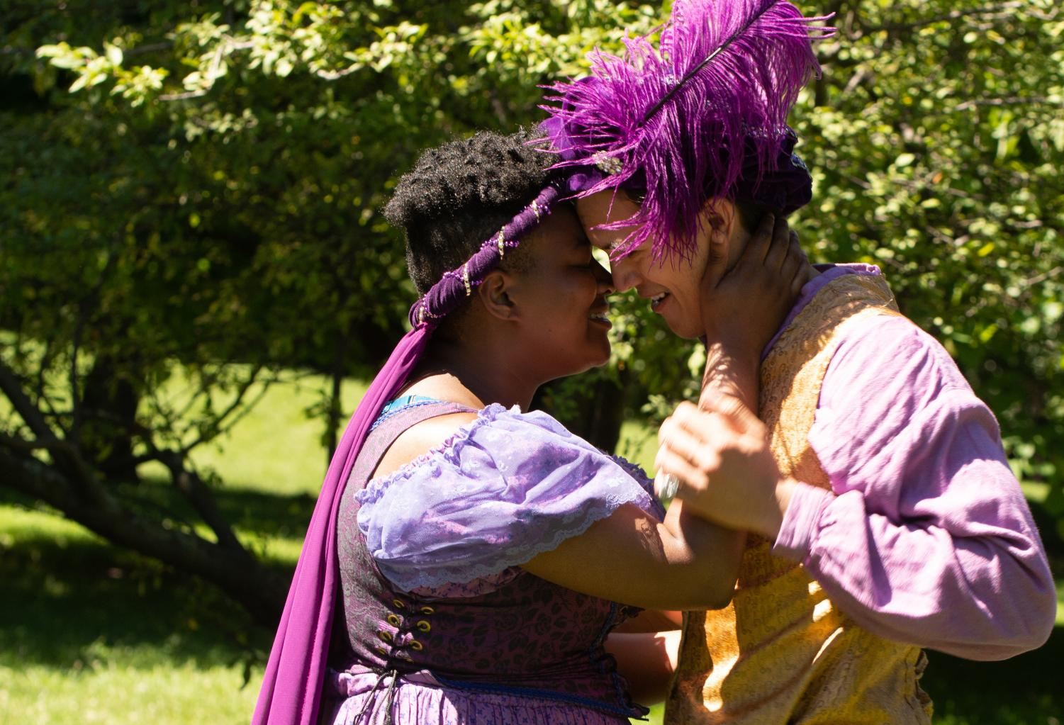 Two actors rehearse 'The Gentlemen of Verona.' Midsommer Flight will perform the play in four Chicago parks through August 26.