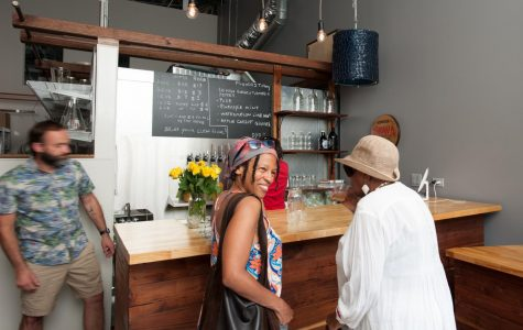 Customers sample kombucha at the Kombucha Brava taproom. The taproom is open on Tuesday and Thursdays from 2 to 6 p.m.