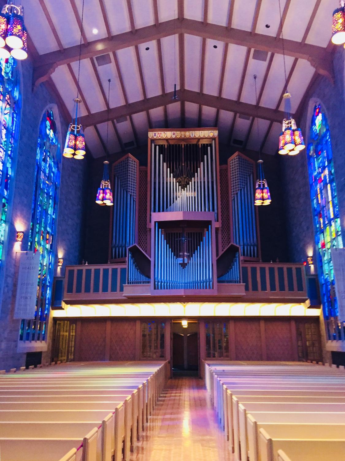 The Aeolian-Skinner organ has been used for performances at the Alice Millar chapel for 54 years. Once played by hundreds of organ majors at Northwestern University, it is now mostly used for Sunday services and weddings.