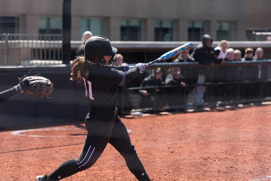 Rachel Lewis takes a swing.
