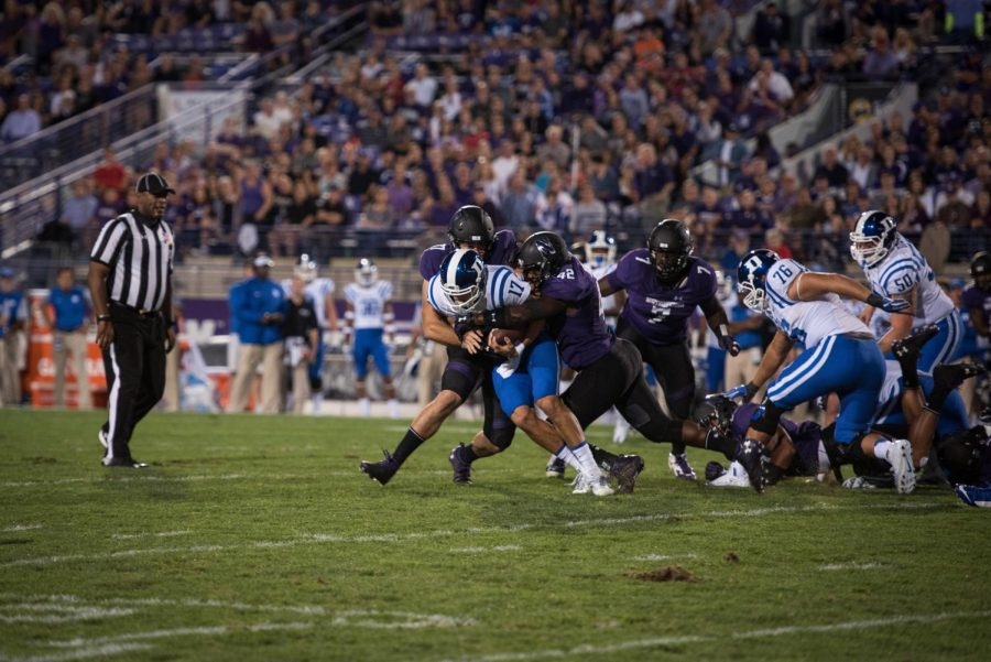 Northwestern defenders sack Duke quarterback Daniel Jones during the two teams' 2016 meeting. Jones then torched the Wildcats in 2017 and will start Saturday's game in Evanston.