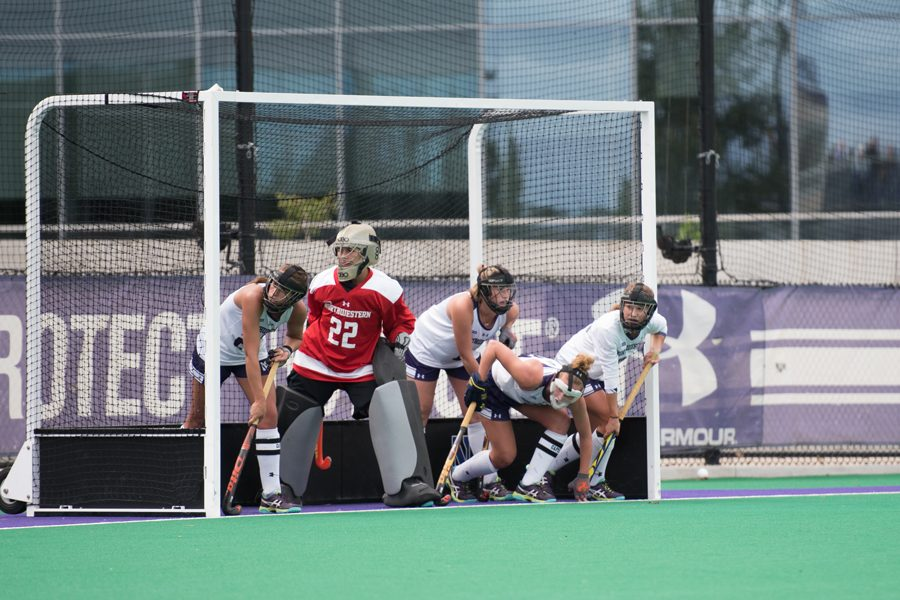 Annie Kalfas prepares to defend a corner. The junior goalkeeper did not allow a goal this weekend.
