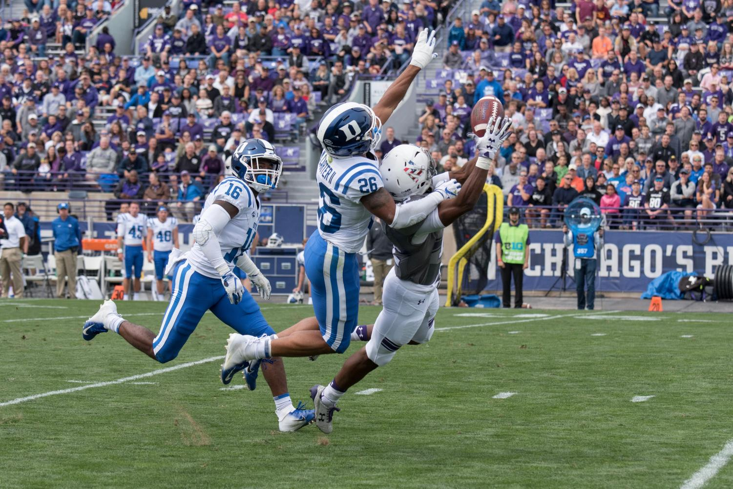 Northwestern freshman receiver JJ Jefferson leaps for a pass that ended up falling incomplete. The Wildcats scored zero points after their opening drive Saturday.