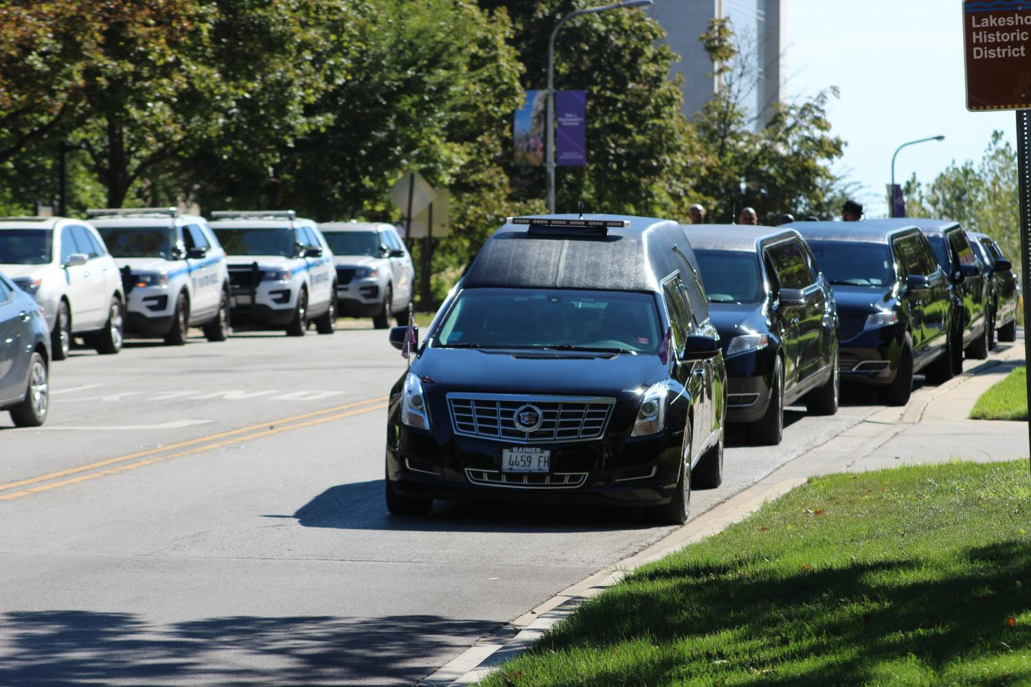 A funeral procession for Constance Lorraine Hairston Morton outside Alice Millar Chapel on Saturday. Hundreds turned out to honor the legacy of a woman who built strong relationships and broke down racial barriers.