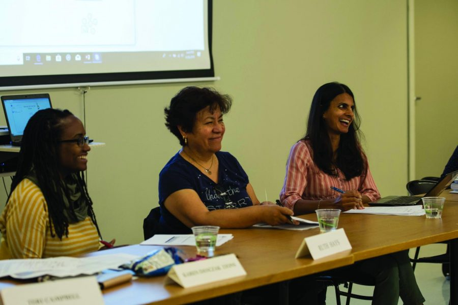 Alison Albeda / Daily Senior Staffer. From left to right, Evanston Public Library board members Ruth Hays, Socorro Castro and Vaishali Patel discuss equity, diversity and inclusion at the library board budget hearing.