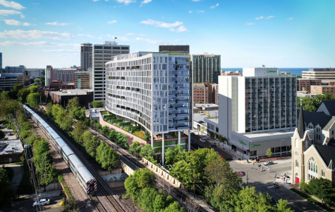 (Source: Albion Residential) An artist rendering of the proposed 16-story building on Sherman Avenue.