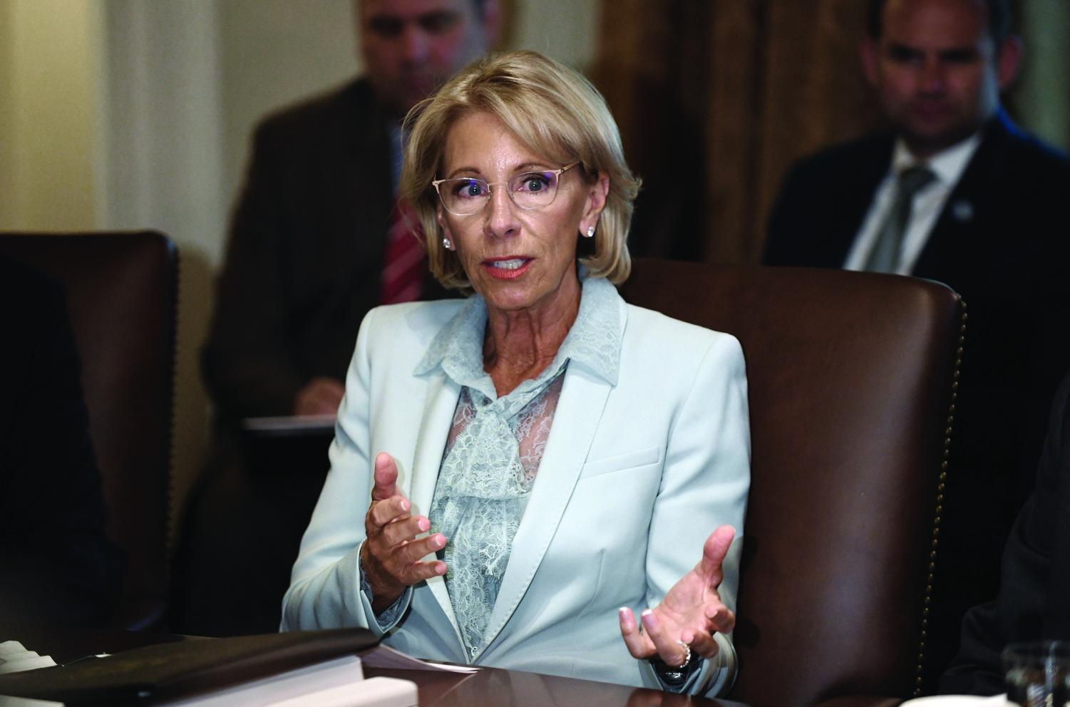 (Source: Tribune News Service) Education Secretary Betsy Devos issued interim Title IX guidelines that permitted Northwestern to abandon the 60-day timeline requirement. Devos is expected to issue new, permanent guidelines soon.
