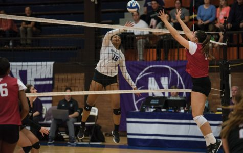 (Daily file photo by Katie Pach) Nia Robinson attacks a ball. The sophomore outside hitter had double-digit kills in all three games of the tournament.