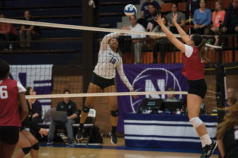 (Daily file photo by Katie Pach) Nia Robinson attacks a ball. The sophomore outside hitter had 48 kills at the Arkansas Classic.