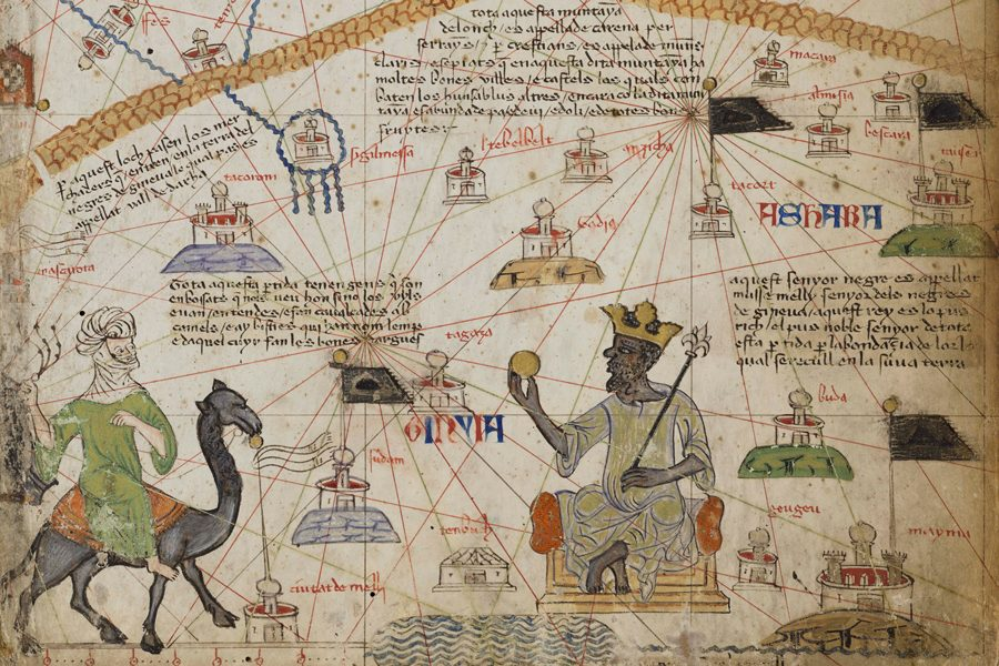 "An atlas of maritime charts on display at the Block Museum of Art's ""Caravans of Gold,"" an exhibit that features small fragments from Medieval Saharan trade routes alongside intact artworks from Africa, Europe and the Middle East. The exhibition recently received a $350,000 grant from the National Endowment for the Humanities."