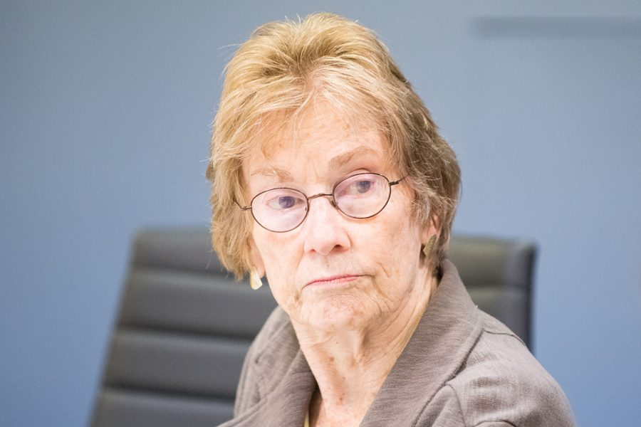 Ald. Eleanor Revelle (7th) at a city meeting. Revelle said she opposes a proposed land shore easement in south Wilmette.