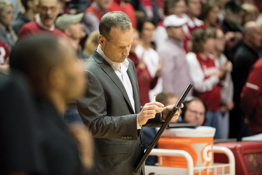 Chris Collins draws up a play. The sixth year coach was heavily influenced by Tex Winter when he was around the Bulls in the 80s.